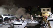 Beykoz'da lüks yatta çıkan yangın panik yarattı