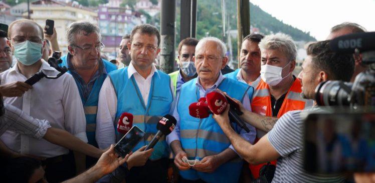 Sel bölgesini ziyaret eden Kılıçdaroğlu'na İmamoğlu eşlik etti